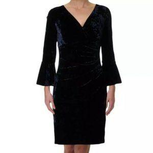 NWT Ralph Lauren Navy Velvet Cocktail Midi Dress